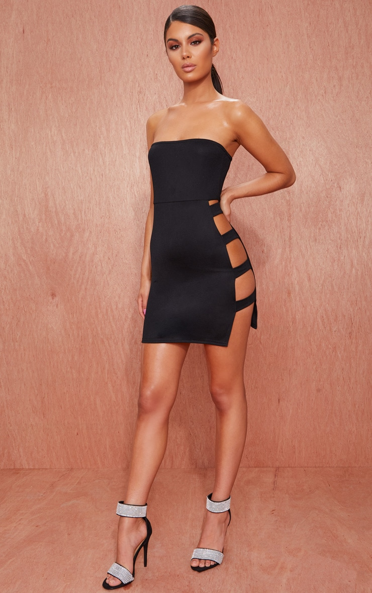 Black Bandeau Strappy Side Bodycon Dress 4