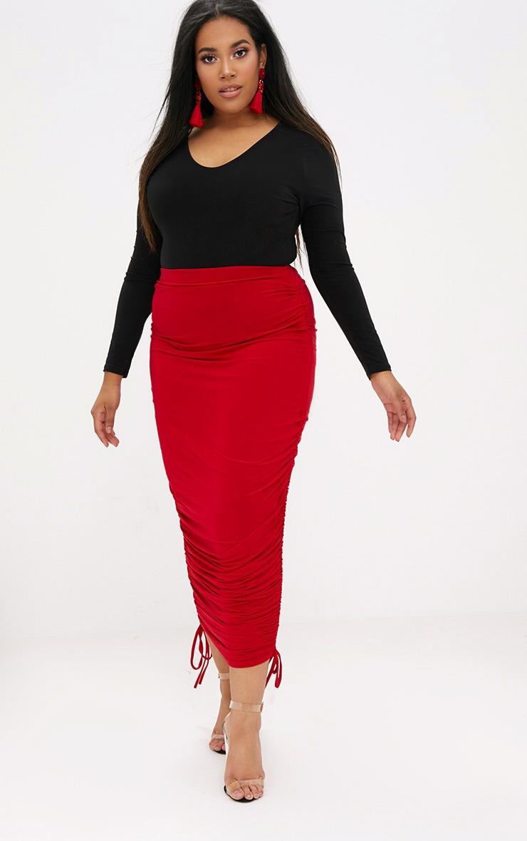 Plus Black Slinky Long Sleeve Bodysuit 5