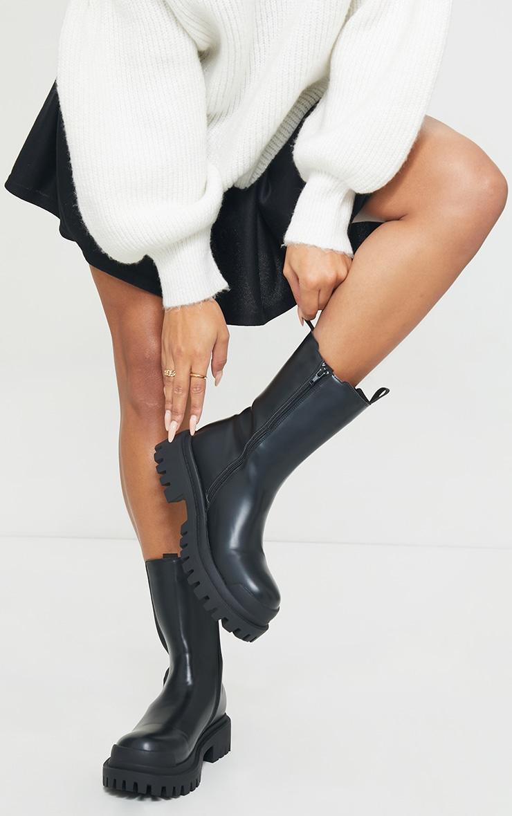 Black Rubber Toe Calf High Chelsea Boots 2
