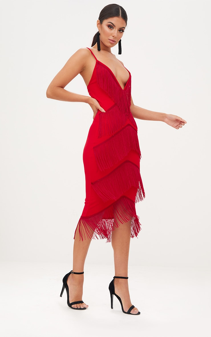 Red Strappy Tassel Longline Midi Dress 3