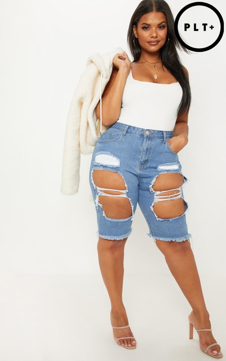 Plus Mid Wash Extreme Distressed Long Denim Shorts 1