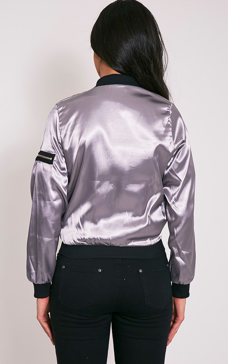 Zaynab Grey Lightweight Satin Bomber Jacket 4