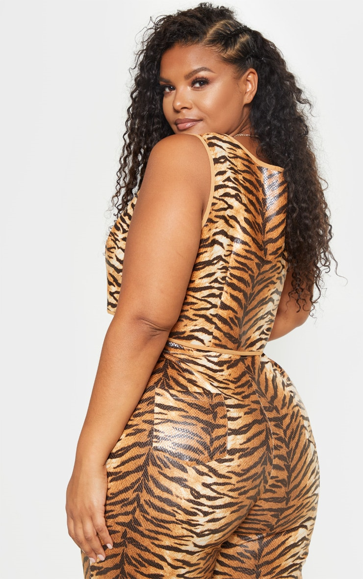Plus Tiger Print Snake Square Neck Crop Top 2