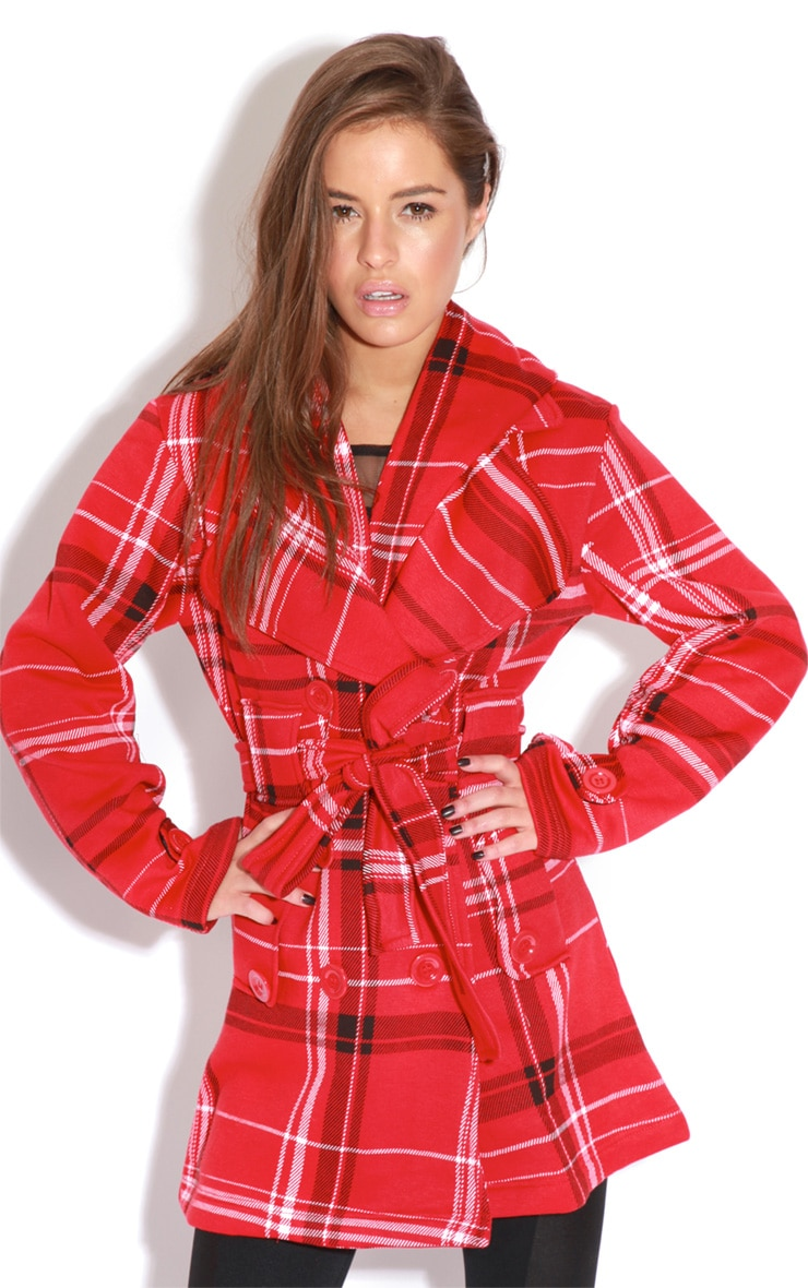 Taylor Red Tartan Trench Coat  1