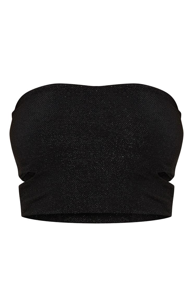 Black Sparkle Lurex Cut Out Side Bandeau Crop Top 3