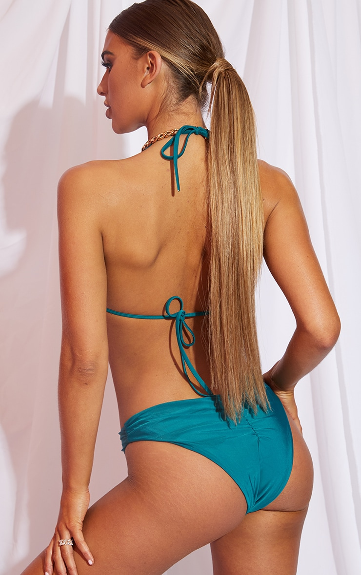 Teal Ruched Cup Padded Triangle Bikini Top 2