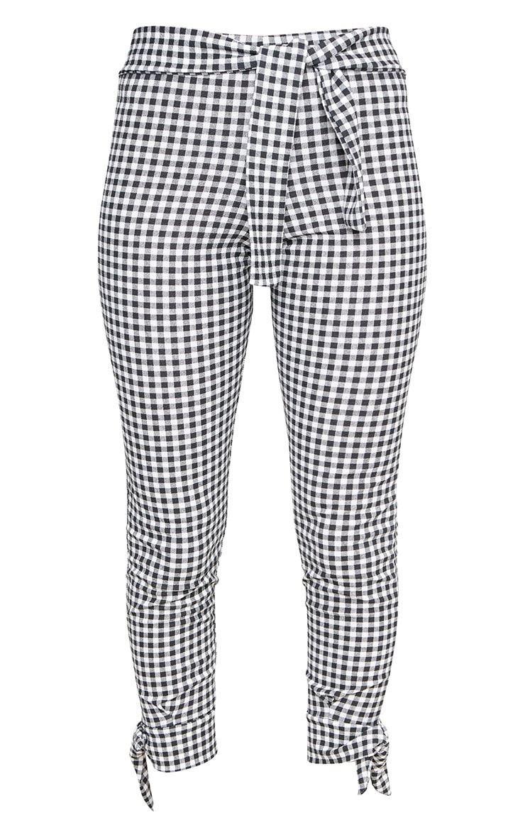 Black Gingham Tie Detail Fitted Trousers 3