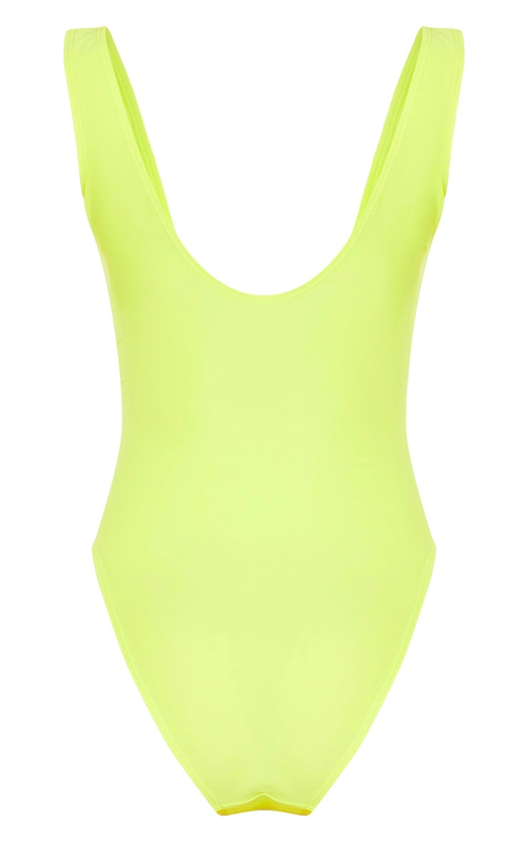 Light Lime Plunge Belted Swimsuit 4