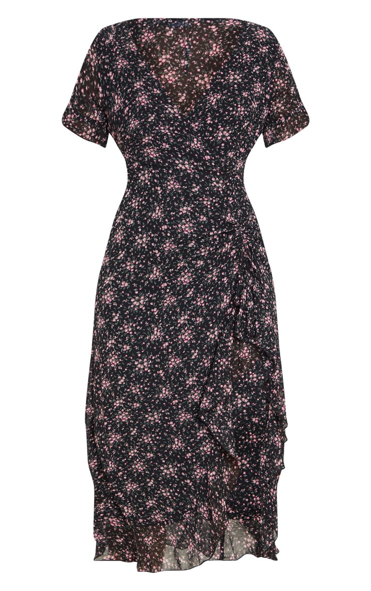 Black Floral Print V Neck Split Midi Dress 5
