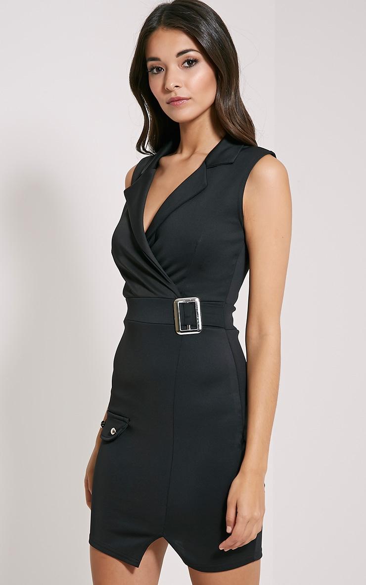 Samaine Black Belted Mini Dress 1