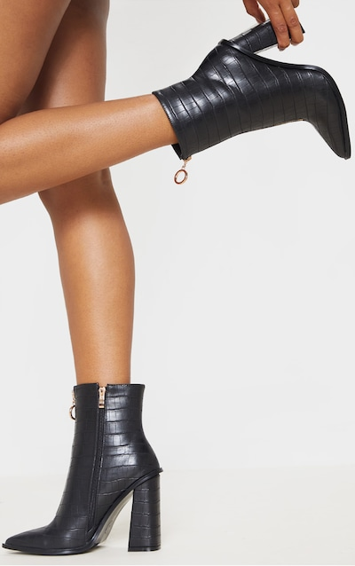 Black Zip Front Block Heel Boot