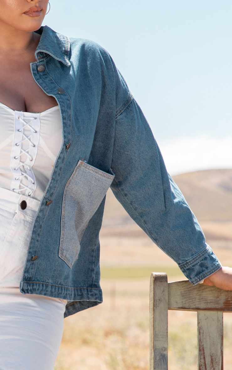 Plus Mid Wash Contrast Pocket Oversized Denim Jacket 5