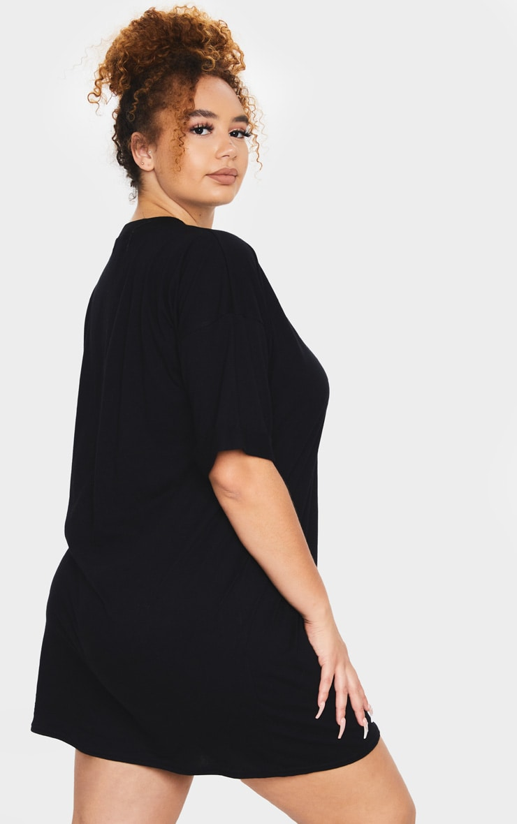 Plus Black Oversized Boyfriend T Shirt Dress 2