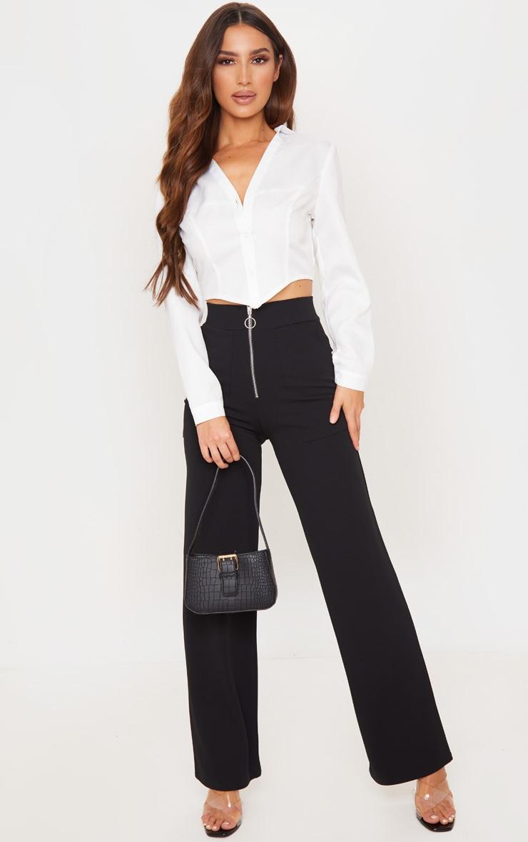 black-zip-detail-wide-leg-trousers by prettylittlething