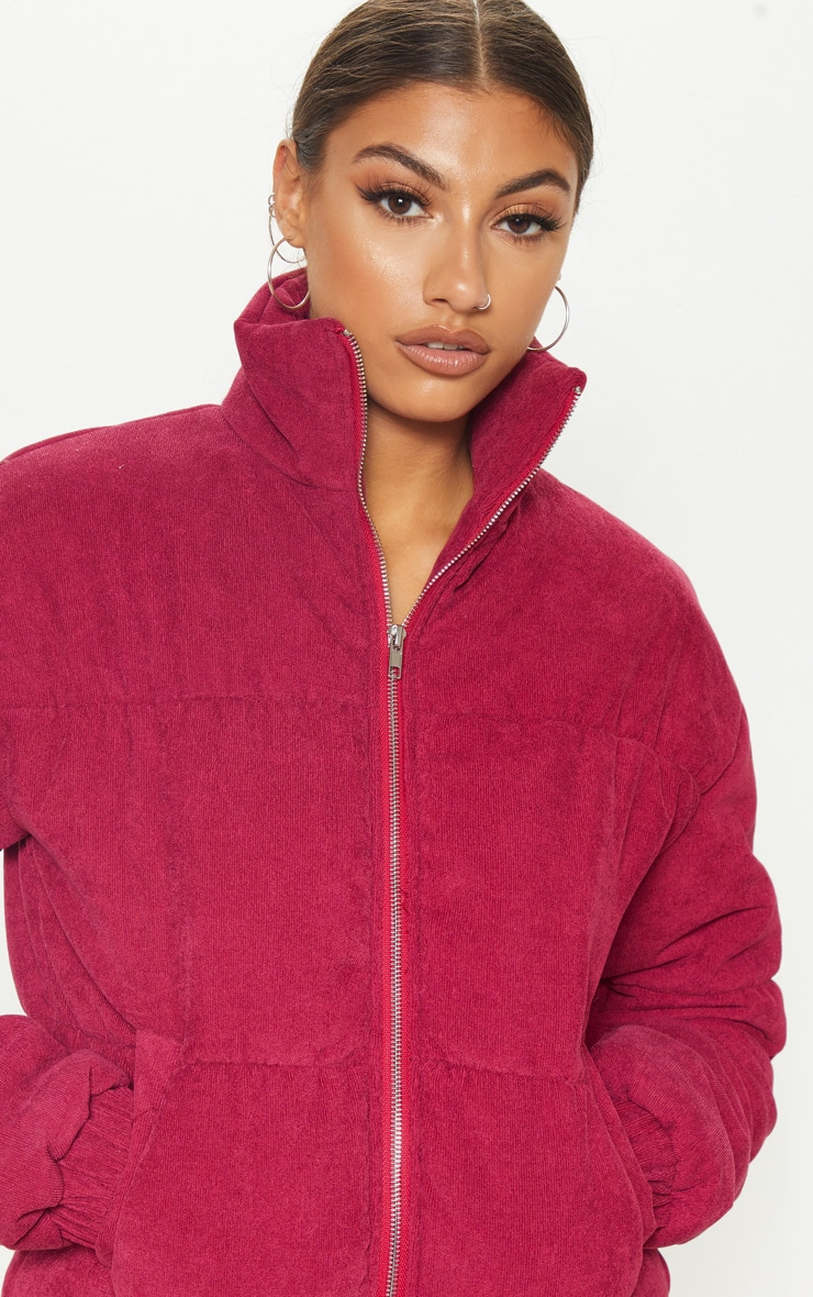 Tall Burgundy Cord Puffer Jacket | Tall | PrettyLittleThing