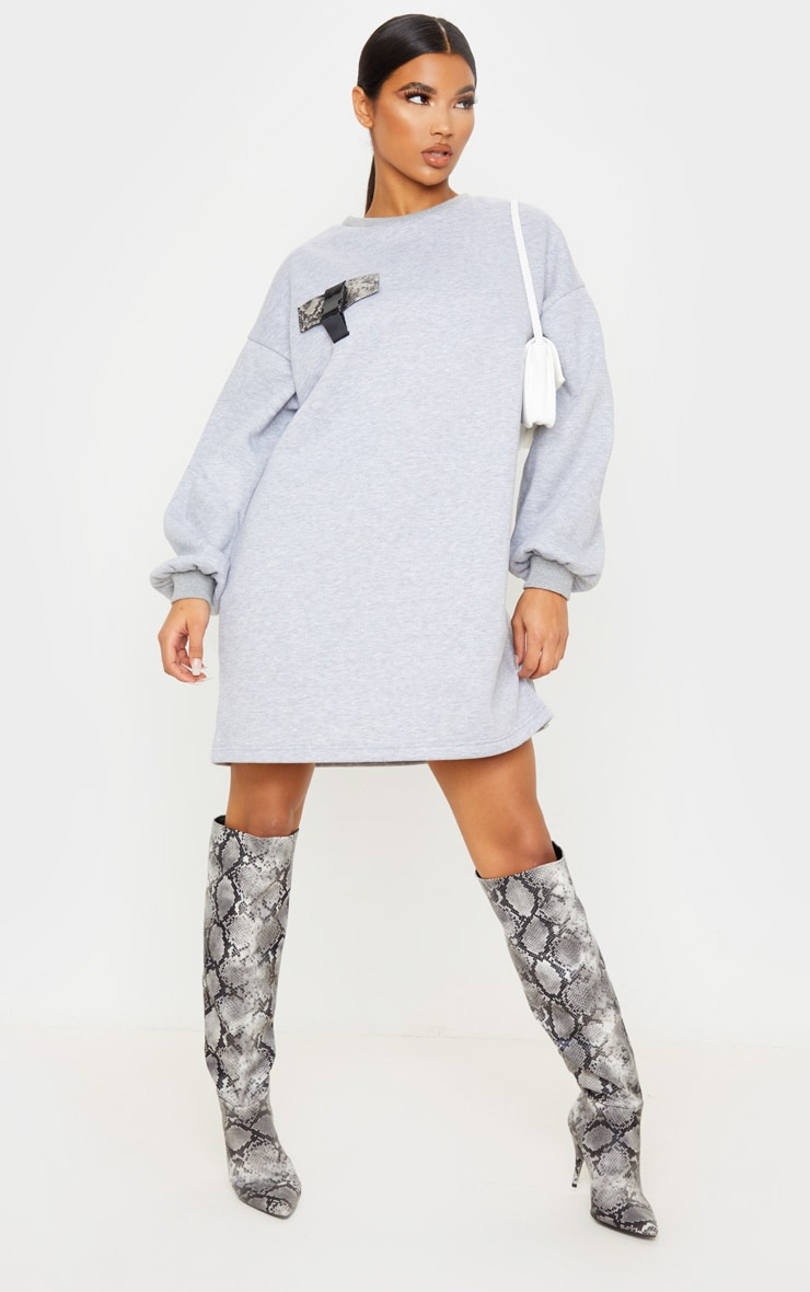 Grey Pocket Detail Oversized Long Sleeve Jumper Dress 4