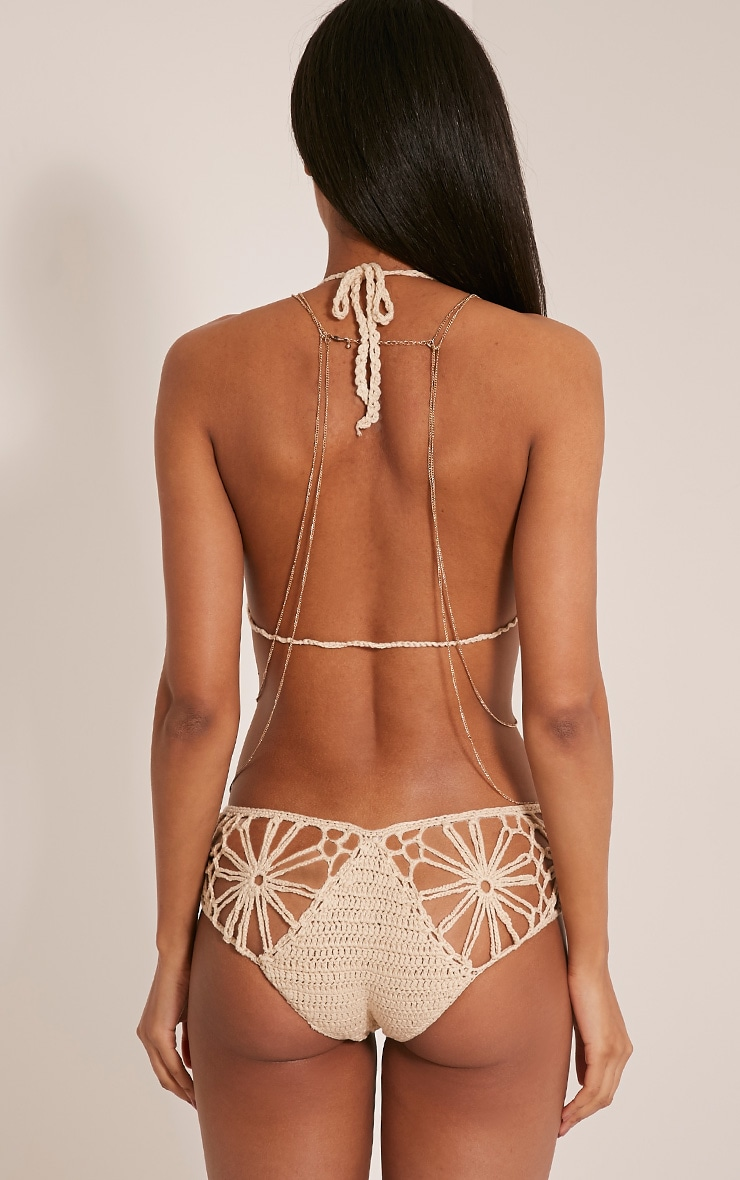 Maddy Beige Crochet Bikini 3