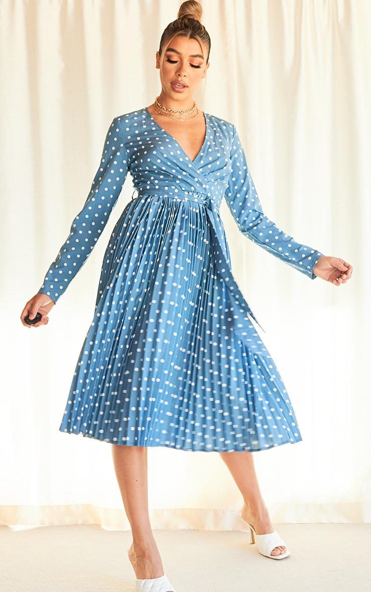 Blue Polka Dot Long Sleeve Pleated Midi Dress 1