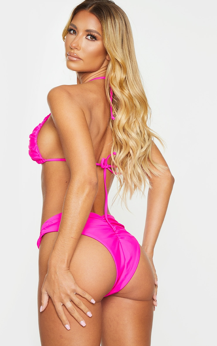 Hot Pink Ruched Cup Padded Triangle Bikini Top 2
