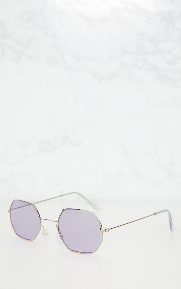 Lilac Hexagon Retro Sunglasses 4