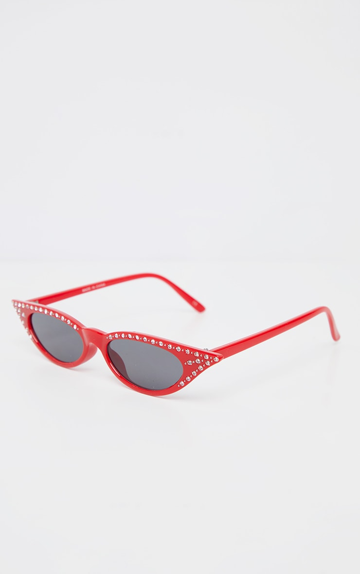 Red Diamante Pointy Cat Eye Sunglasses     3