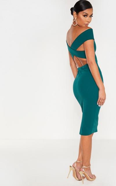 Emerald Green Bardot Cross Back Midi Dress