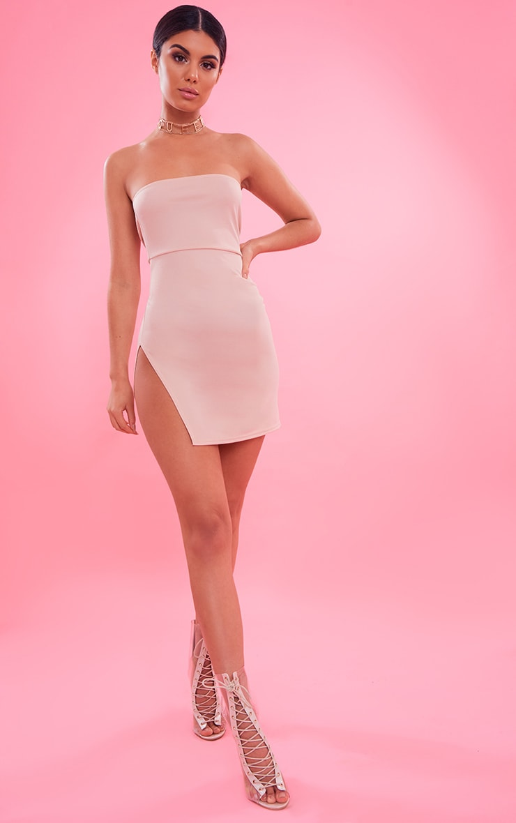 Nude Crepe Split Side Bandeau Bodycon Dress 2