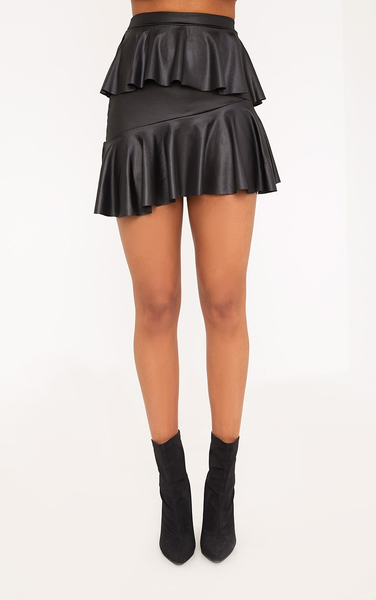 Symone Black Wet Look Asymmetric Frill Mini Skirt 2