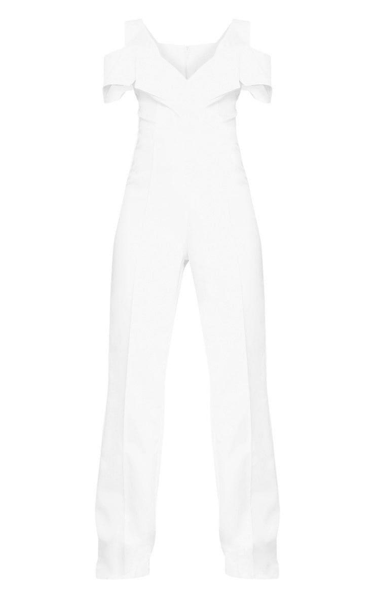 White Lapel Detail Wide Leg Jumpsuit 3