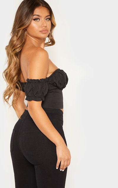Black Ruched Cup Button Up Short Sleeve Crop Top