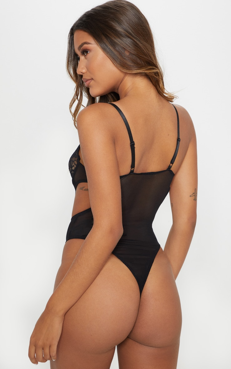 Black Lace Cup Cut Out High Leg Body 2