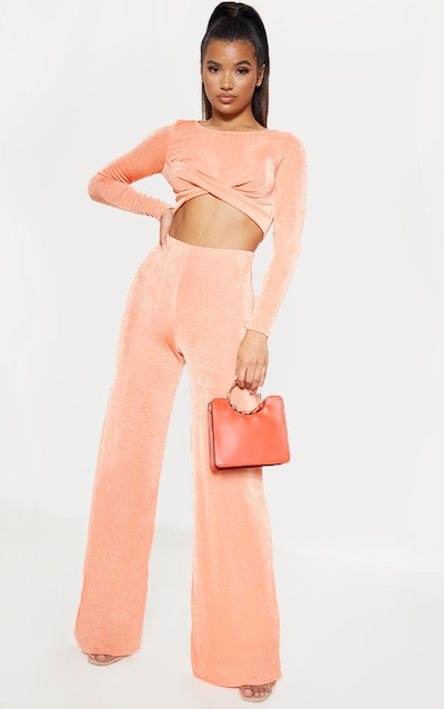 1bd0b97204d4bc Peach Textured High Waisted Wide Leg Trouser
