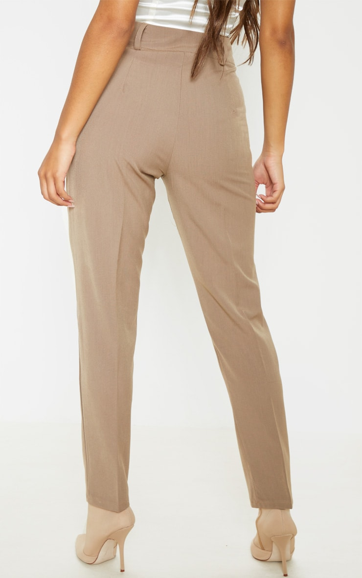 Mocha Woven High Waist Pocket Detail Skinny Trouser 4