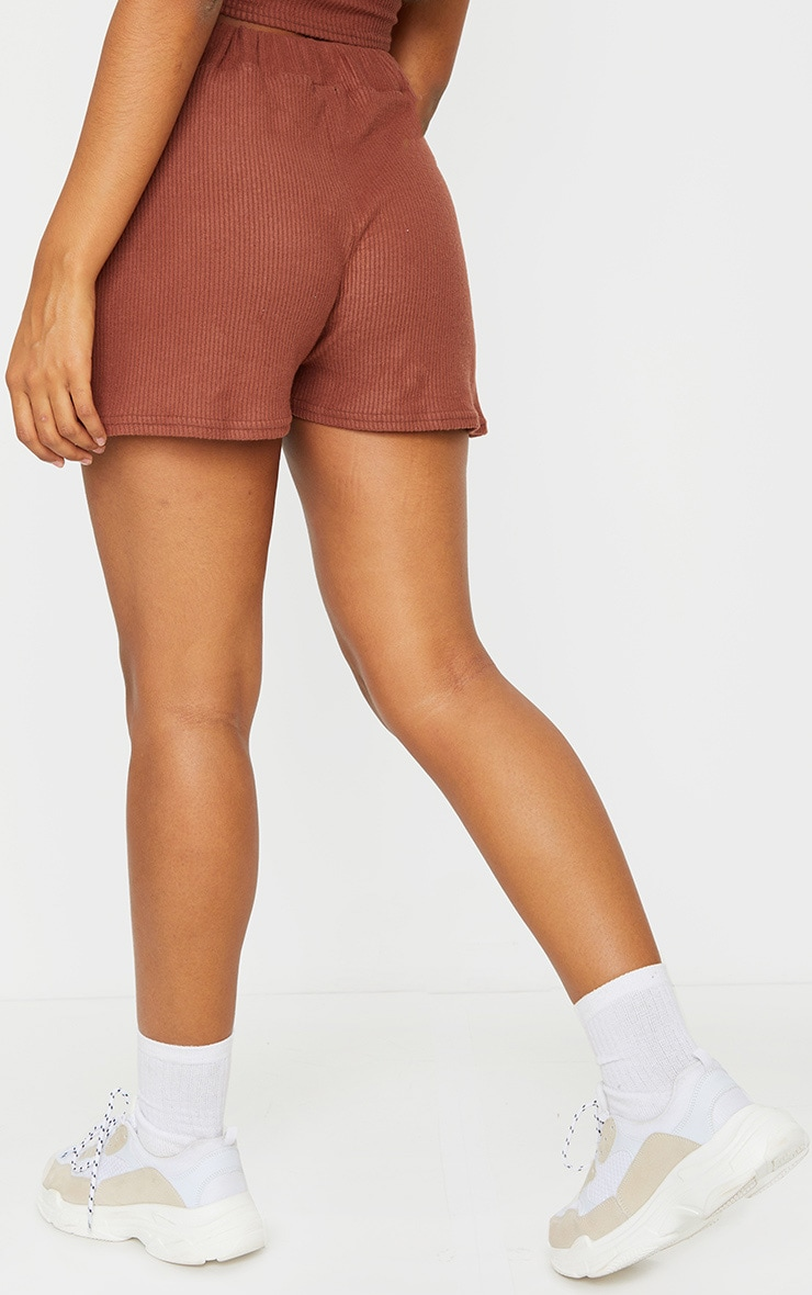 Brown Brushed Rib Floaty Shorts 3