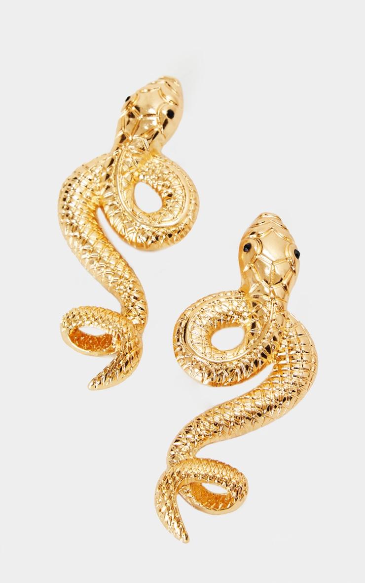 Gold Oversized Twisted Snake Earrings 2