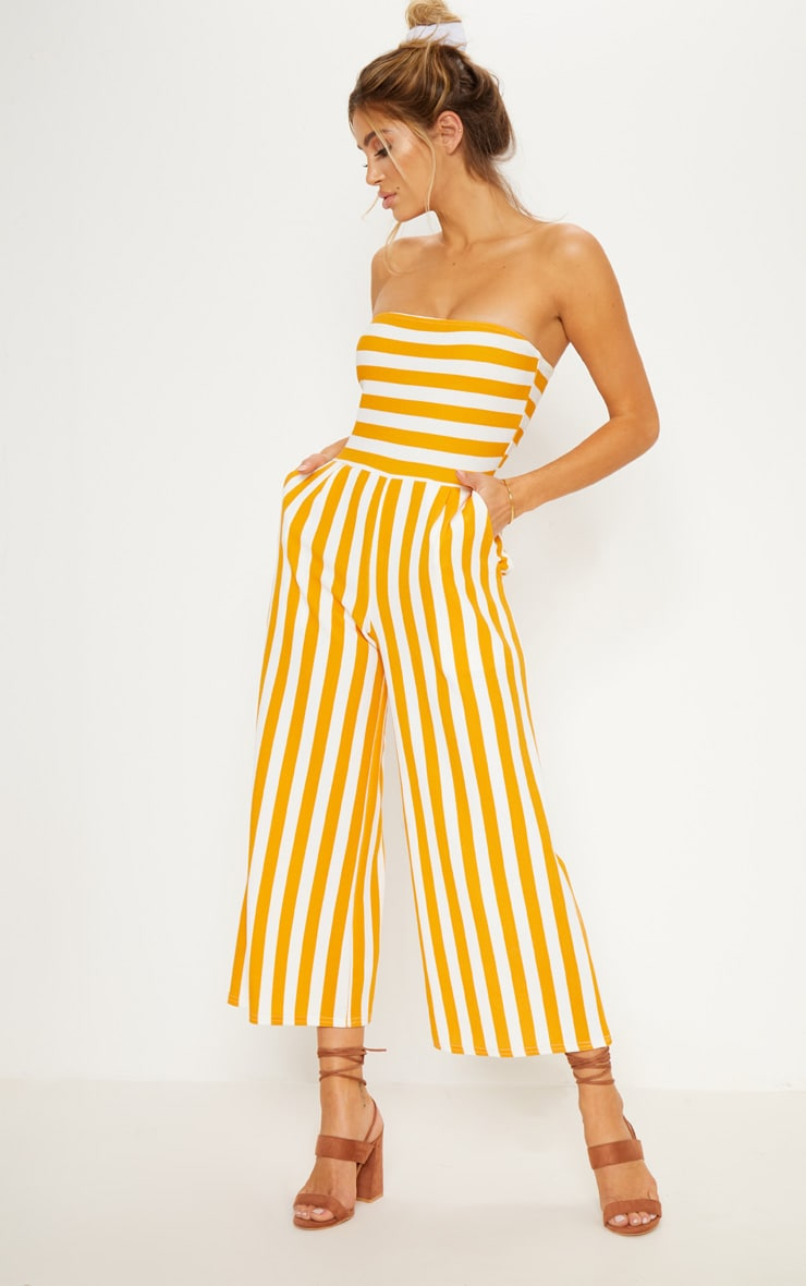 1b16bbdffca7 Mustard Contrast Stripe Bandeau Culotte Jumpsuit | PrettyLittleThing