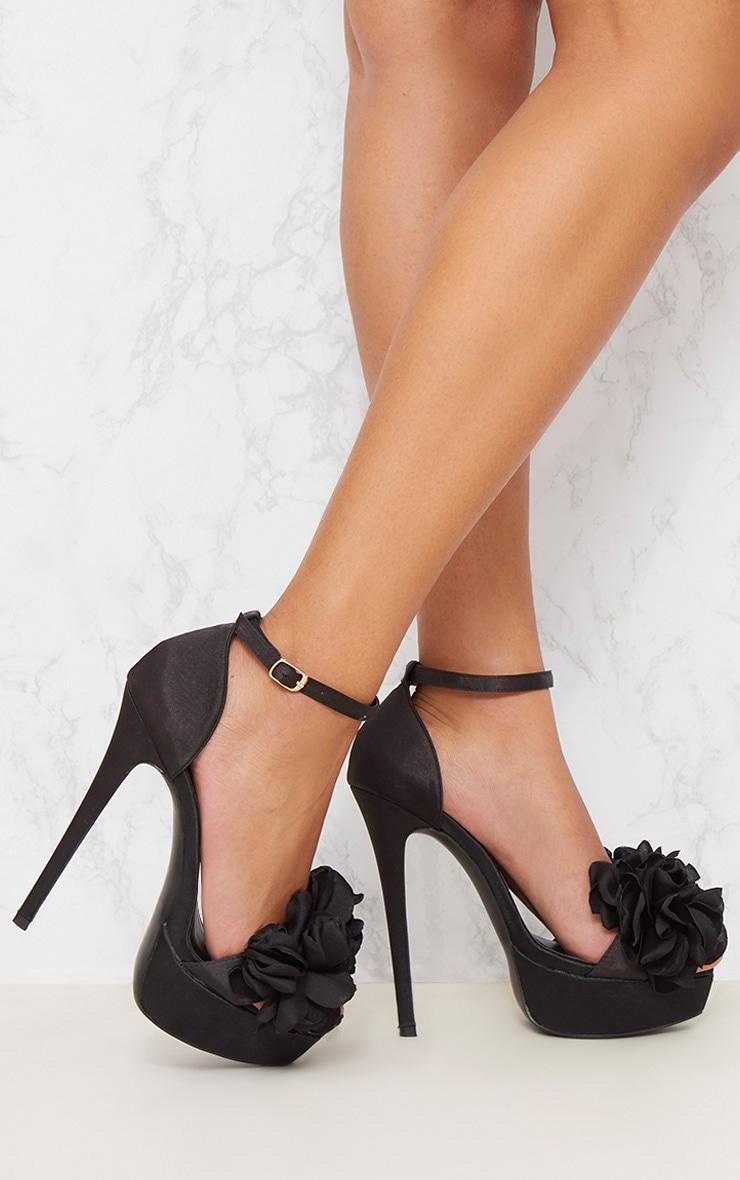 Black Ruffle Flower Platform Heels 2