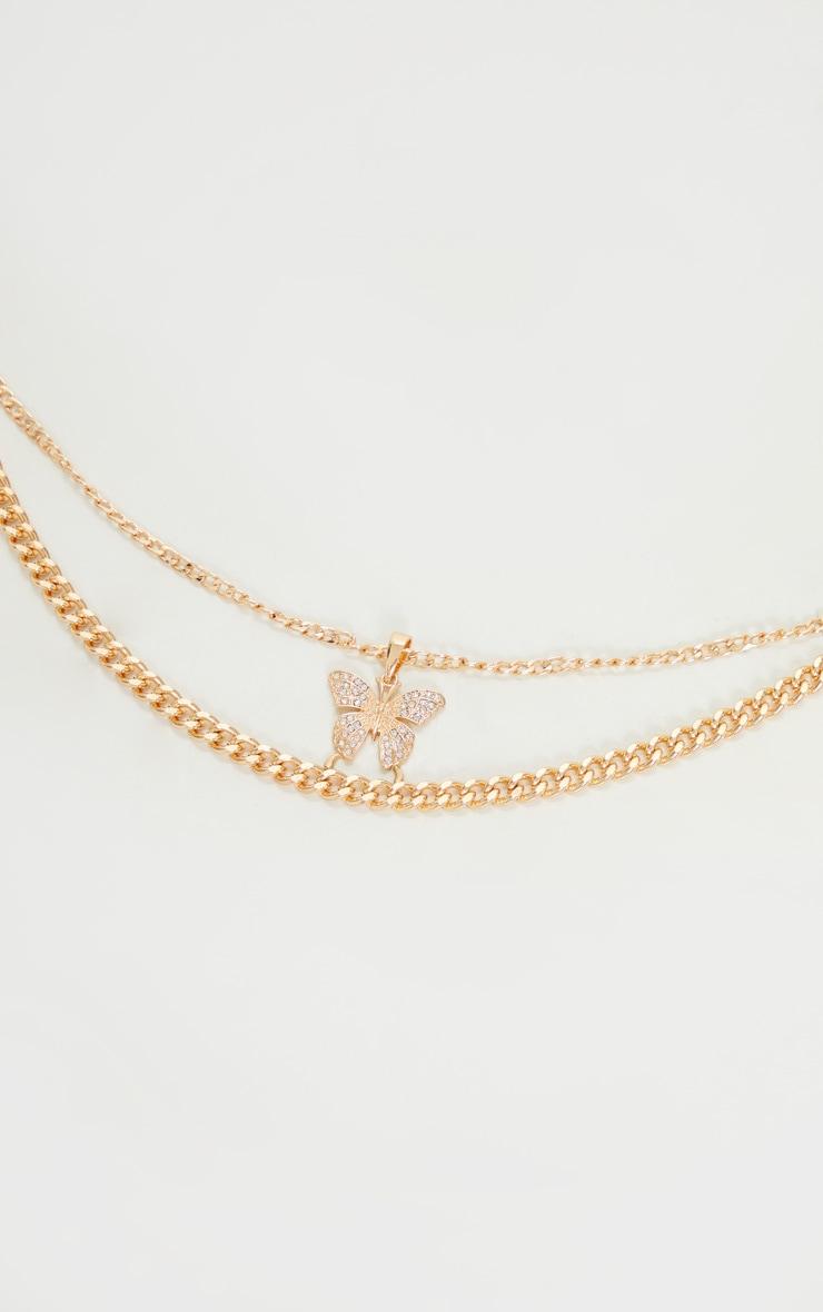 Gold Oversized Butterfly Necklace 3