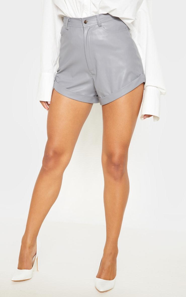 Lead Grey Faux Leather Turn Up Hem Shorts 2
