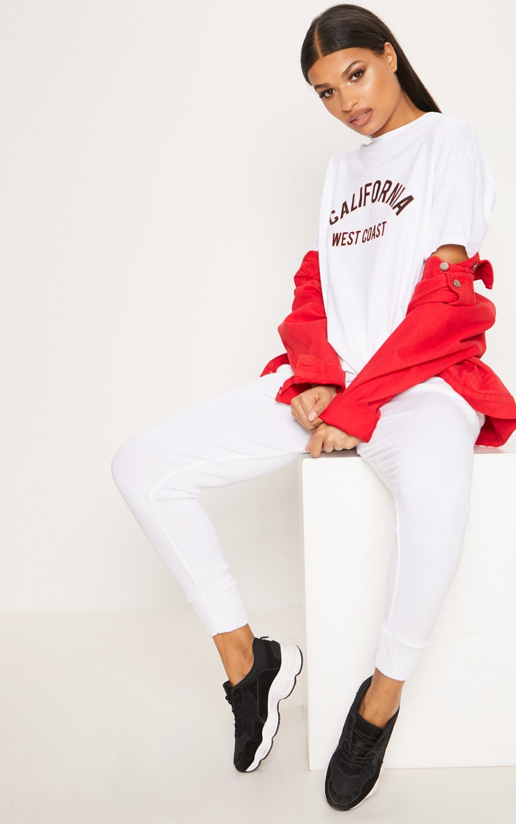 White California Slogan Oversized T Shirt  4