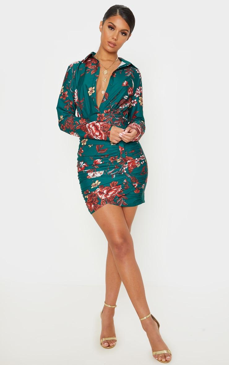 Emerald Green Floral Print Button Detail Ruched Drape Shirt Dress 4