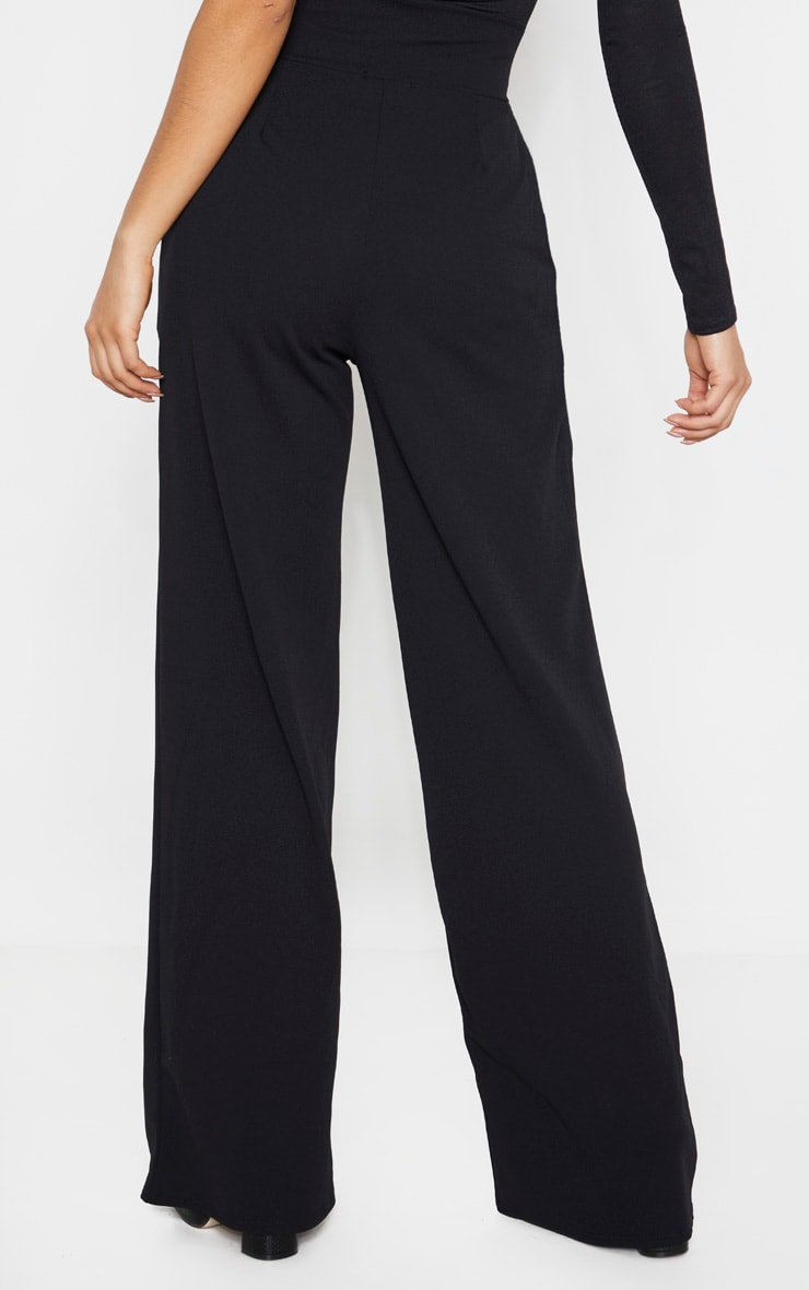 Tall Black Button Detail Crepe Wide Leg Pants 4