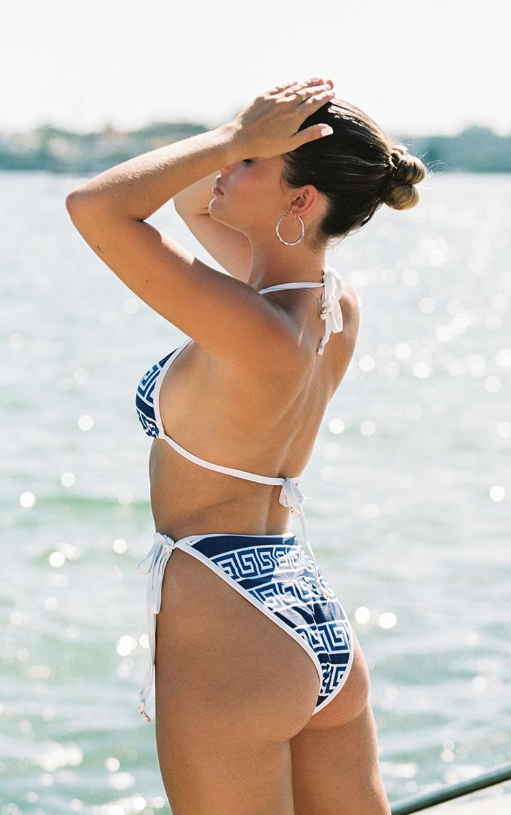 Blue Greek Key Triangle Bikini Top 2
