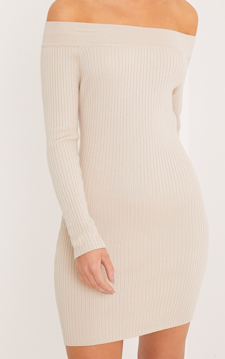 Lidia Stone Fine Rib Bardot Knitted Dress 5