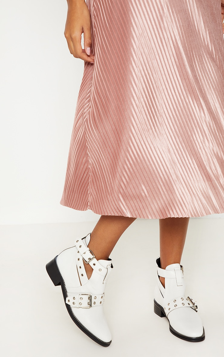 White Buckle Ankle Boot