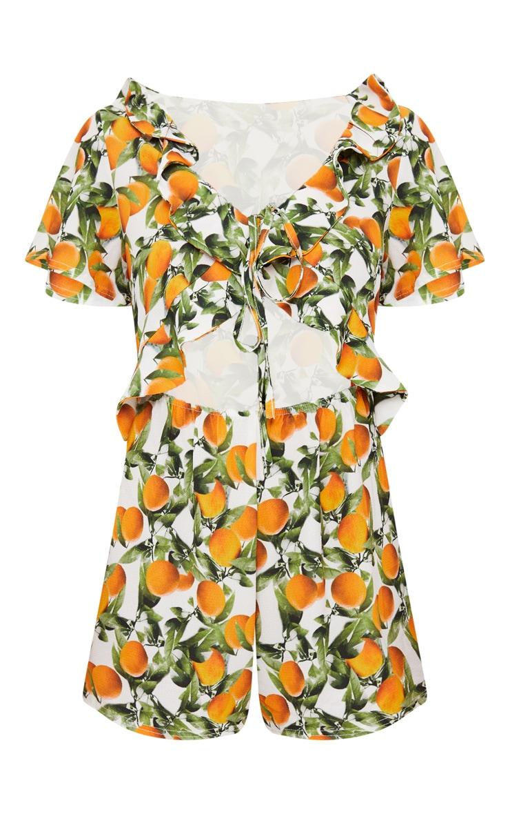 Orange Print Short Sleeve Frill Tie Waist Romper 3