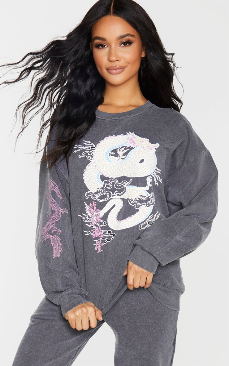 Grey Dragon Print Washed Long Sleeve Sweater 4