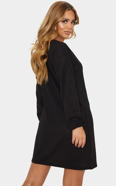 Petite Black Wide Ribbed Oversized Jumper Dress