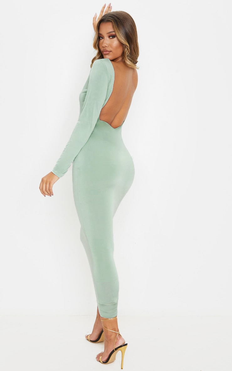 Sage Green Slinky Low Back Long Sleeve Midi Dress 1