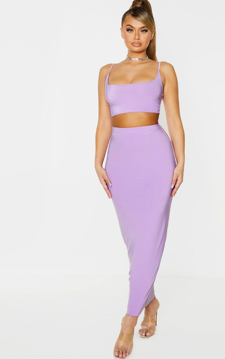 Lilac Slinky Strappy Crop Top 4